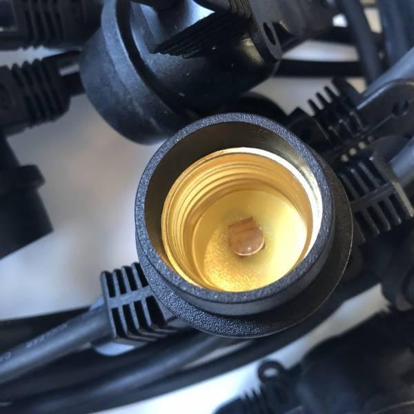 Guirlande guinguette vintage ampoule ronde 95mm blanc chaud verre dorée