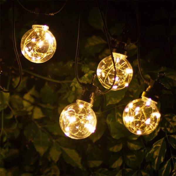 Guirlande Guinguette 10 globes 80mm filament micro led 8 mètres extérieur étanche