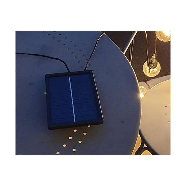 Guirlande guinguette solaire 5M 10 globes blanc chaud prolongeable LEBLANC CHROMEX