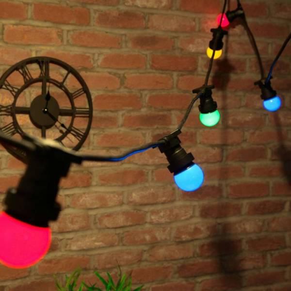 Guirlande guinguette 100M et 100 ampoules LED E27 multicolores câble noir extensible