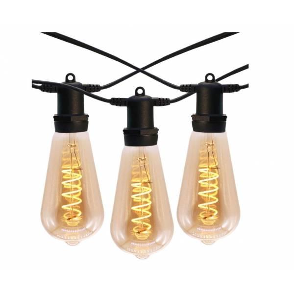 Guirlande 10 ampoules vintage spirale 10 mètres connectable extérieure câble noir