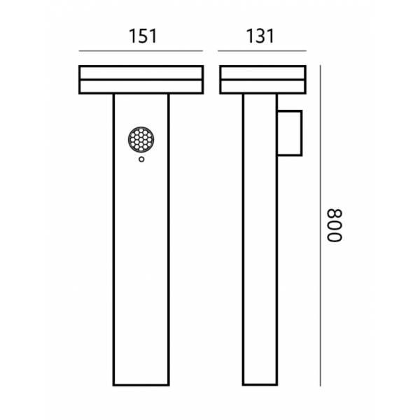 Borne solaire led détecteur de mouvement professionnelle design blanc neutre extérieur anthracite IP44 carre