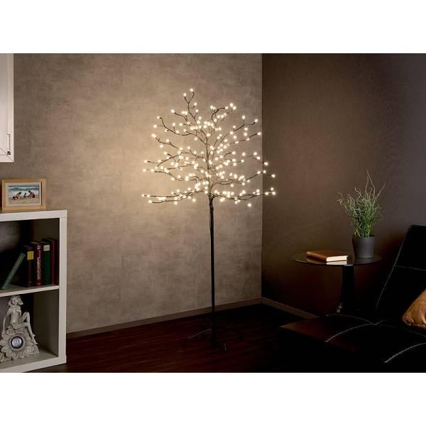 Arbre lumineux solaire 150 cm 200 petite boule LED blanc chaud