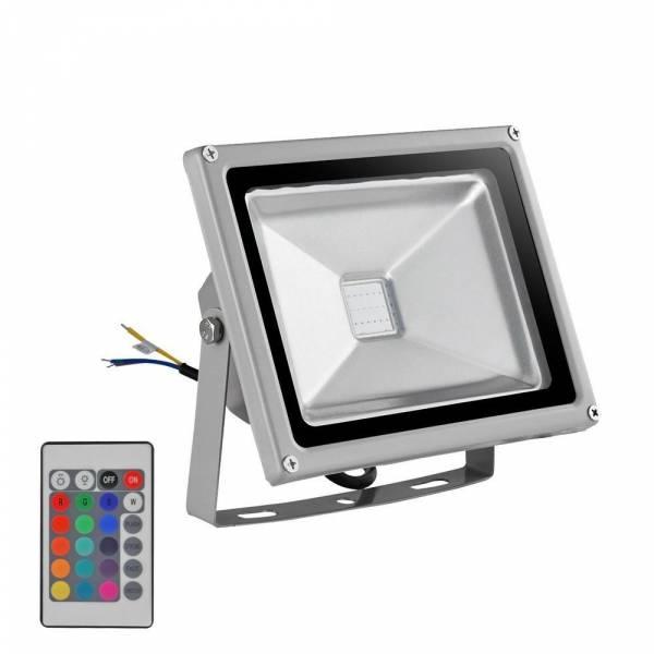 Projecteur RGB 10W led extérieur Gris télécommande multicolore IP65