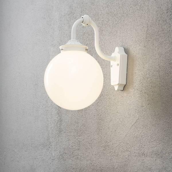 Applique murale extérieure classique boule blanche Arcturus Aluminium E27 professionnelle Konstsmide