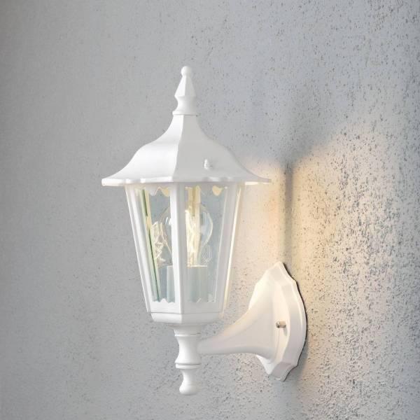 Applique murale lanterne classique extérieure blanche Firenze haut Aluminium IP43 E27 professionnelle Konstsmide