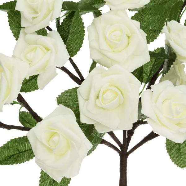 Bouquet 20 Roses lumineuses led blanches piles