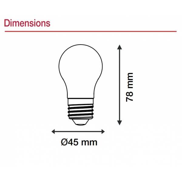 Ampoule filament verre dépoli 4W E27 LED blanc chaud 2700K