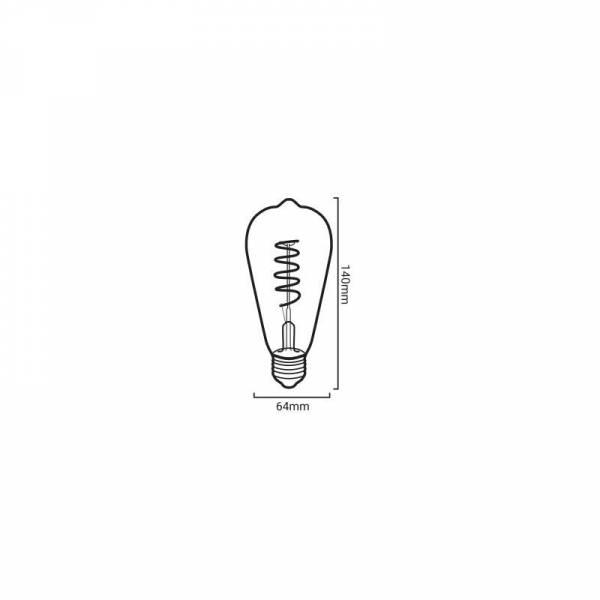 Ampoule vintage dimmable filament spirale ambrée 4W E27 ST64 blanc chaud 2200K