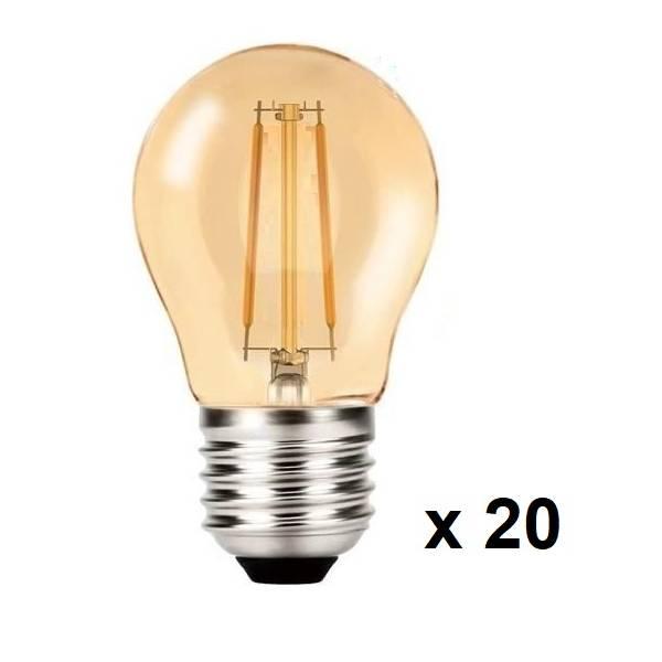 Guirlande lumineuse 10m 20 ampoules vintages ambrées 2W extérieur câble noir rond raccordable
