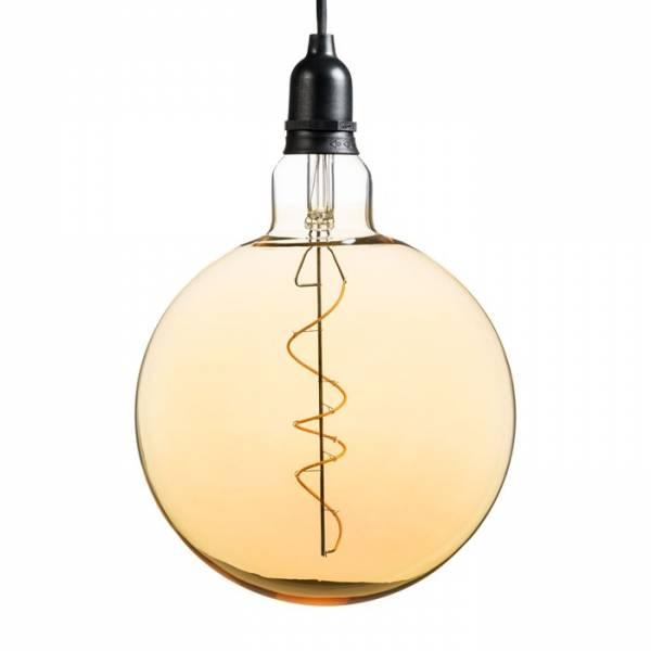 Suspension ampoule sphère 20CM vintage spirale verre E27 piles