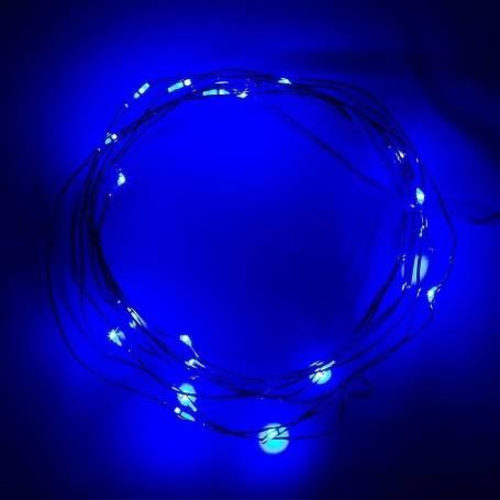 Guirlande led bleue câble rigide métal fil de fer à piles