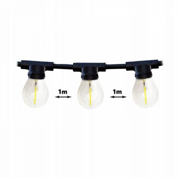 Guirlande guinguette vintage 15M 15 ampoules LED ambré filament blanc chaud 2200K extensible