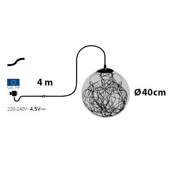 Suspension lumineuse LED boule 40CM 240 micro led intérieur