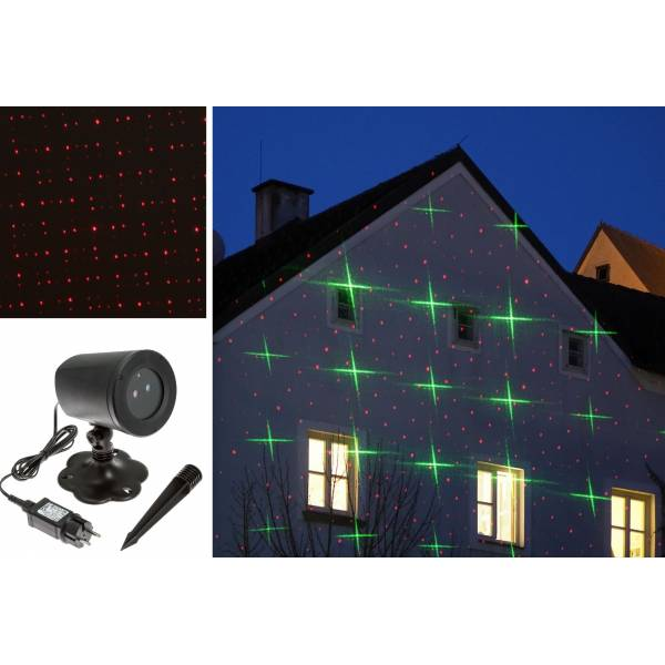 Projecteur laser Noel étoiles vertes points rouges animés extérieur professionnel