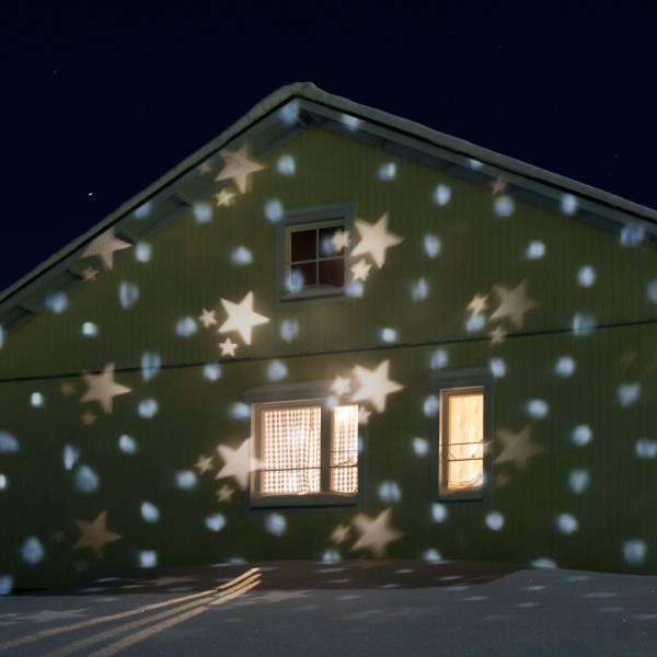 Projecteur lumineux LED effet chute de neige flocons et étoiles extérieur