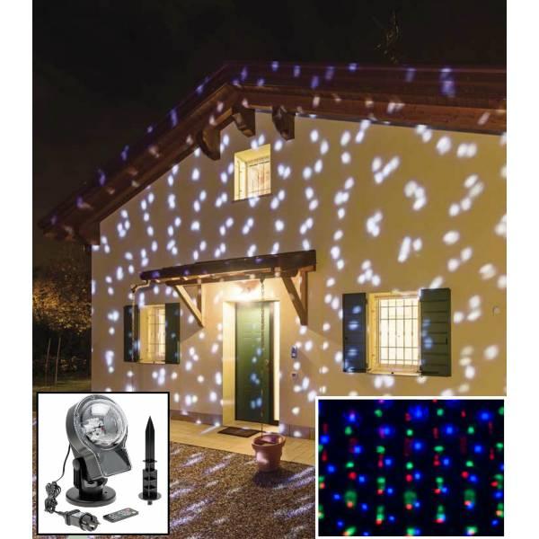 Projecteur LED effet chute de neige blanc froid et multicolore télécommande extérieur professionnel