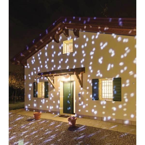 Projecteur LED effet chute de neige blanc froid et multicolore télécommande extérieur
