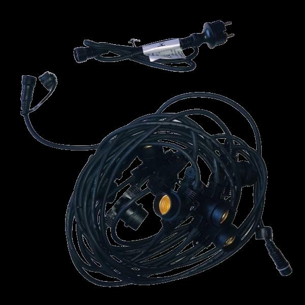 Location guirlande guinguette vintage 10M 20 ampoules ronds G95 4W connectable câble rond.