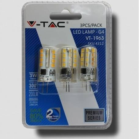 Lot de 3 Ampoule LED G4 3000k blanc chaud 3W
