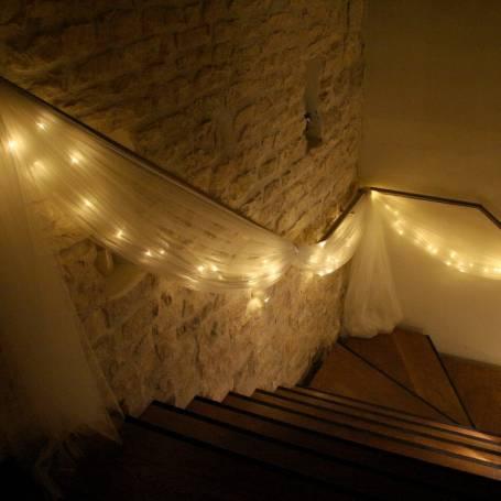 Guirlande 180 led piles 7 M blanc chaud câble vert IP44 décoration mariage