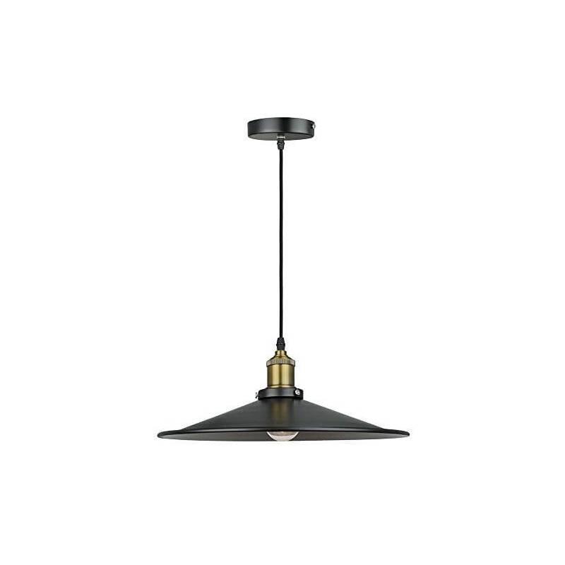 suspension metal noir et laiton luminaire rond 36cm. Black Bedroom Furniture Sets. Home Design Ideas