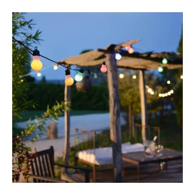 Guirlande led guinguette f te multicolore 9 m tres for Guirlande exterieur led
