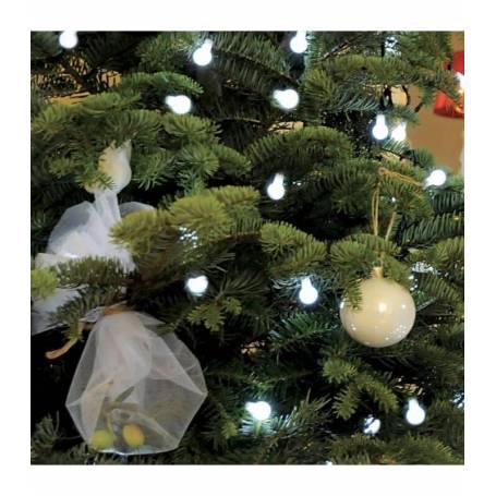 Guirlande led 64 billes blanche câble vert intérieur extérieur animée
