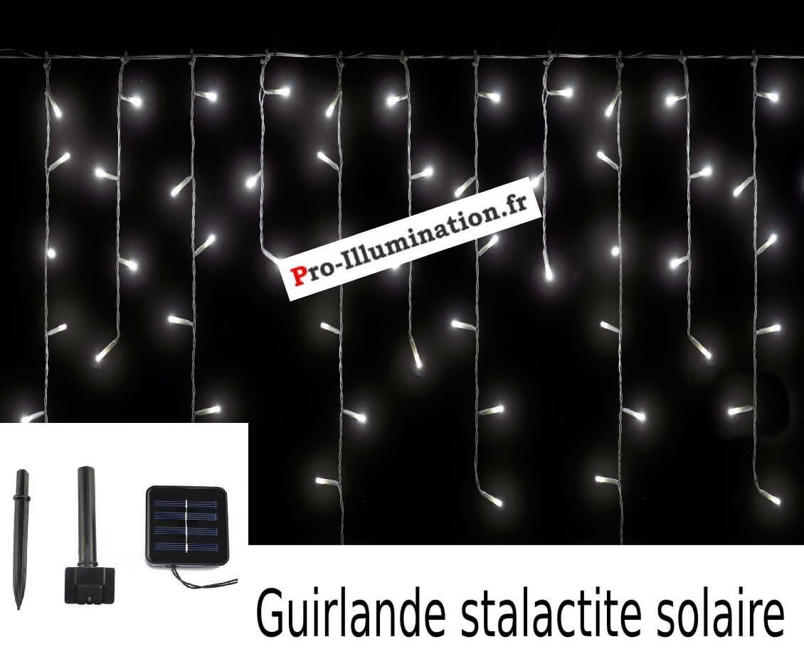 guirlande solaire frise stalactite 128 led blanc froid 6 m tres pro illumination. Black Bedroom Furniture Sets. Home Design Ideas