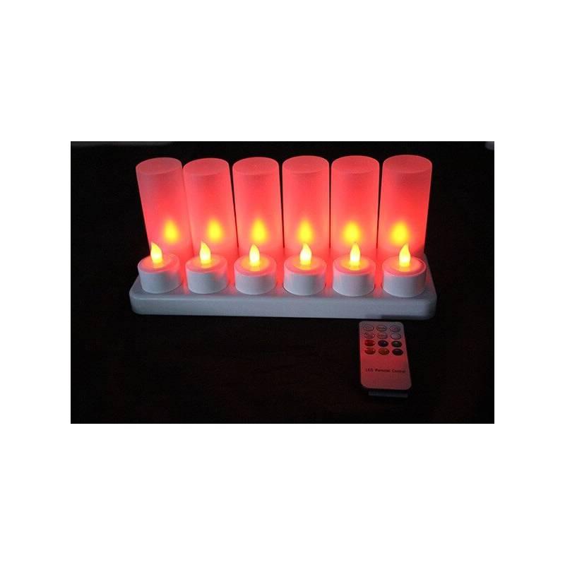 Bougie led rechargeable télécommande rouge par 12