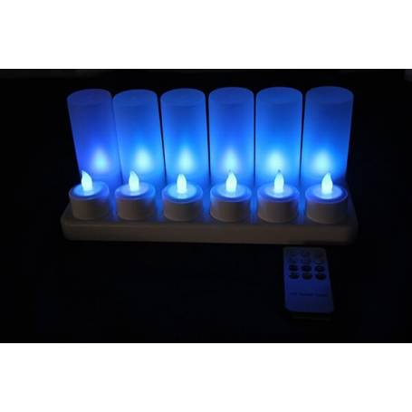 Bougie led rechargeable télécommande bleue par 12
