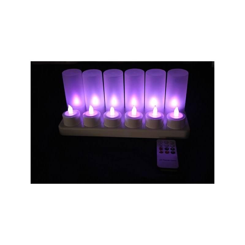 Bougie led rechargeable télécommande violette par 12