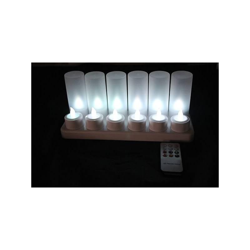 Bougie led rechargeable télécommande blanche par 12