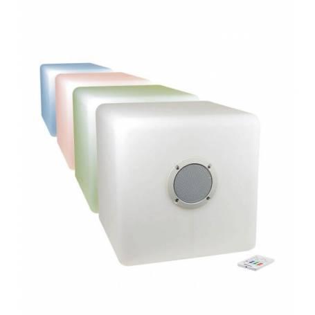 Cube lumineux led rechargeable enceinte bluetooth télécommande