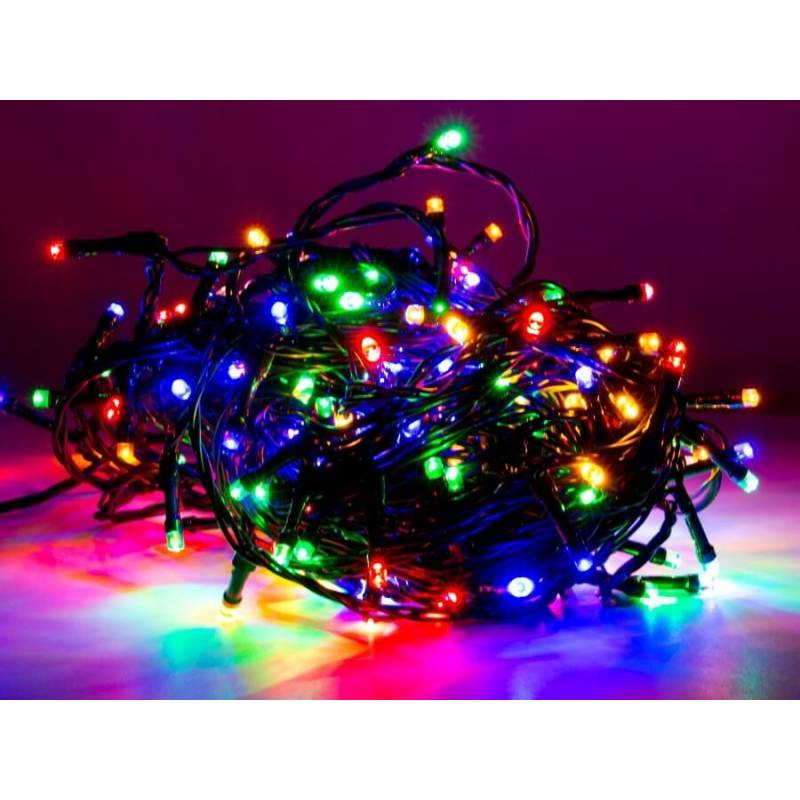 Guirlande lumineuse led anim e 8 m tres multicolore ext rieur for Spot exterieur noel