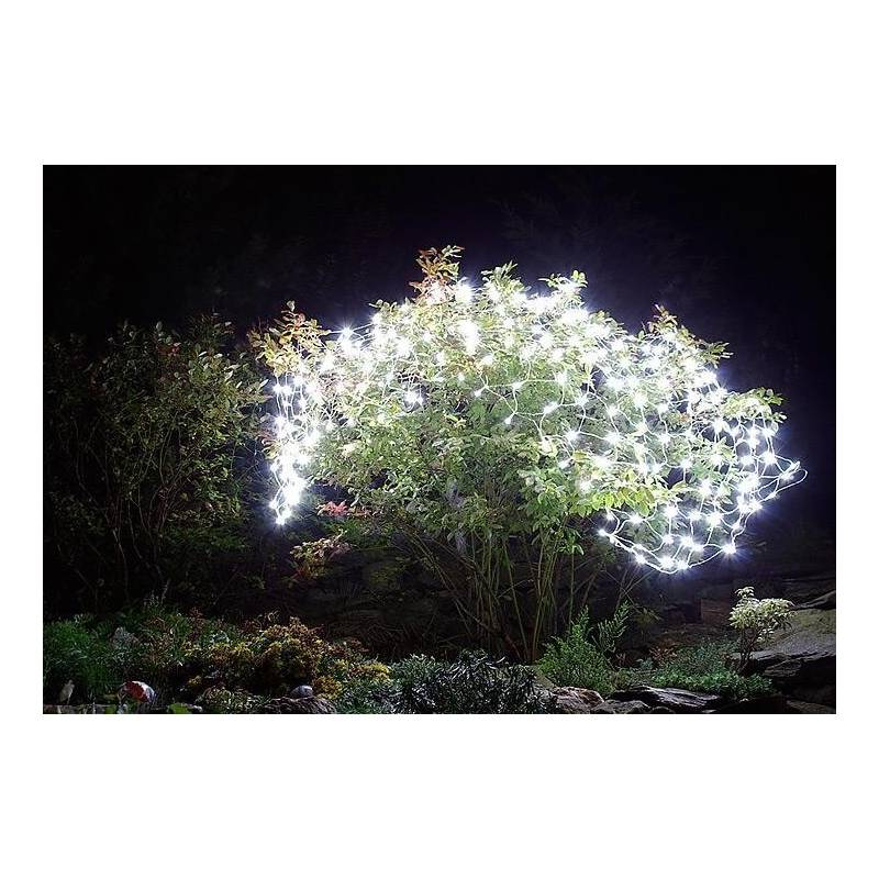 Filet lumineux led solaire blanc froid 105 led