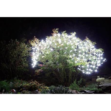 Filet lumineux led solaire blanc froid 2,1X1,15M 105 LED allumage automatique
