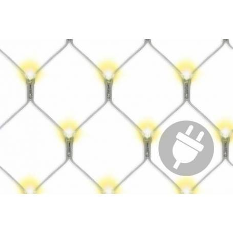 Filets lumineux led blanc chaud 3X3M 128 Led cable transparent