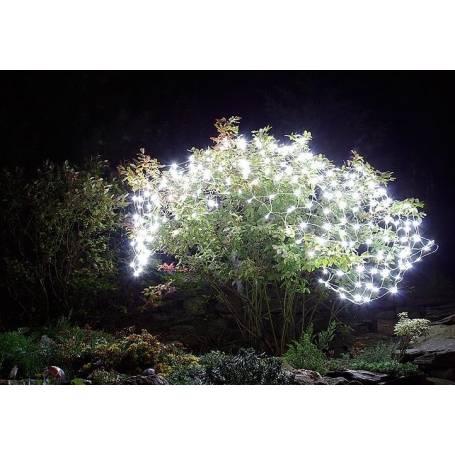 Filets lumineux led blanc froid câble transparent pour jardin terrasse arbre