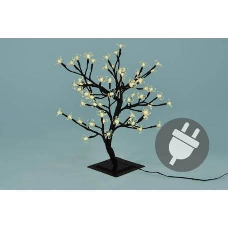 arbre lumineux LED cerisier blanc chaud 45cm de haut 64 LED