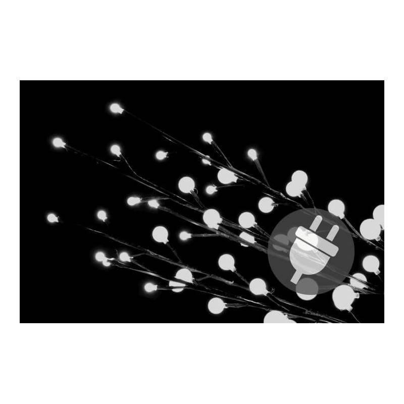 Branches lumineuses LED 48 boules blanches par 3 intérieur extérieur