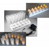 Bougie LED rechargeable jaune avec photophore par 12 professionnelle