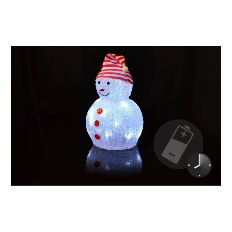 Bonhomme de Neige lumineux LED à piles 32 CM plastique