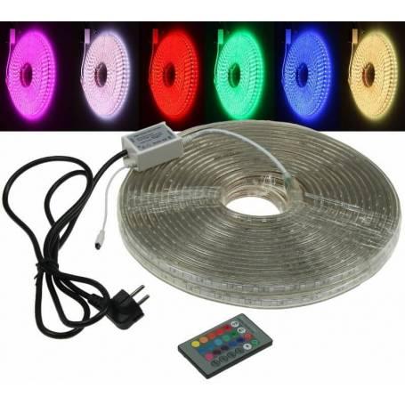 Ruban LED RGB 10M IP65 extérieur 230V professionnel télécommande