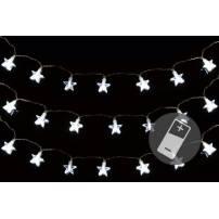 Lot de 3 guirlandes étoiles déco à piles 150cm blanc froid