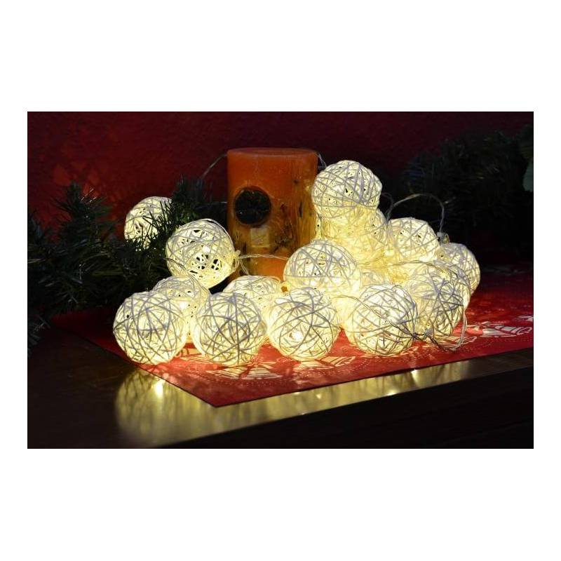 Guirlande boules en rotin blanche 2m led à piles   DIXI11351 9ba9bb577a8e