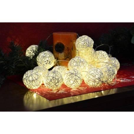 Guirlande led déco 20 boules rotin blanc chaud à piles intérieur 2M