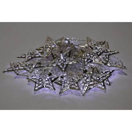 guirlande led déco 20 étoiles métal argentées led blanc froid à piles