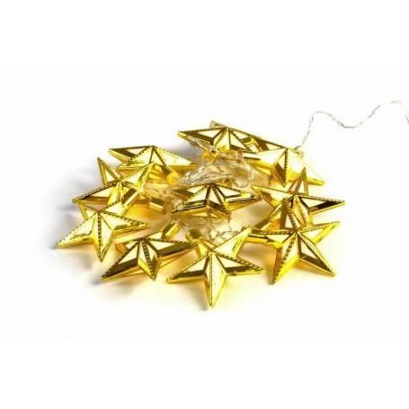 Lot de 2 Guirlandes led déco piles étoiles dorées blanc chaud150CM intérieur