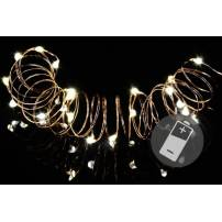 Lot de 4 guirlandes micro led cable métal 20 led blanc chaud 2M